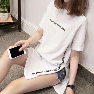 tamaño Nkandby Plus día maravilloso de impresión largos camisetas del verano de las mujeres suelta de manga corta de hendidura Femme Tops camiseta del algodón