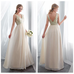 V-образным вырезом Шампанское Несогласованные невесты платья Длина пола Sparkly невесты платья длинные шифоновые платья для свадебных гостей