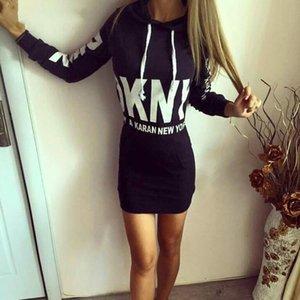Frauen reizvolle Kleid-Sweatshirt Herbst-Winter-Hoodied Kleid Mode-Paket Gesäss lange Hülsen-Kleider für Frauen Schwarz Weiß Grau
