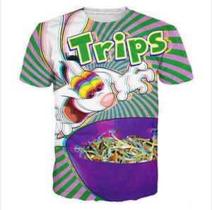 Neueste Art und Weise Mens / Womans-Sommer-Art Trippy Vibrant Trix Kaninchen Lustige 3D-Druck-beiläufiges Hemd Tops Plus Size XZ015