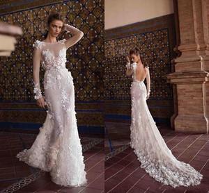 Berta New Ivory Wedding Dresses Lace 3D-Flowers Sheer mangas compridas Sexy Backless casamento de praia vestidos de noiva Tribunal Trem frete grátis
