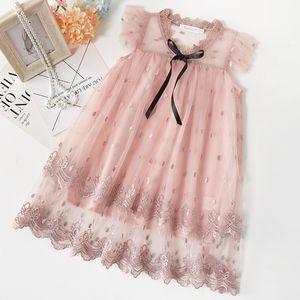 EACHIN Девочки Платья Детские Gril Вышивка Mesh платье младенца день рождения платье Одежда Кружева Принцесса Свадебные платья Детская одежда