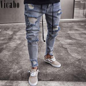Vicabo Hip Hop Мужчины джинсы Мода Колено Дыры Разорванные джинсы Homme Zip брюки карандаш вскользь Проблемные Тощий черный Байкер Jean