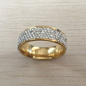 hot sale white ziron 316L Stainless Steel 18K gold plated ring diamond wedding Ring for Women girls Lovers wholesale