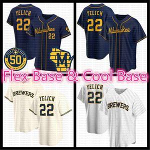 2020 Новый сезон 50-й Flex Cool Base Baseball Jersey 22 Christian Yelich Robin Yount Lorenzo Cain Ryan Braun Travis Shaw Keon Broxton Thames