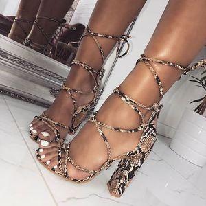 Magical2019 High Fund Scarpe da donna Rome Shoe Snake Pattern Crossing Bandage Grossa con sandali 40 Codice