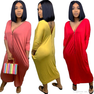 новых женщин лето рукав молния вверх V-образным вырезом Длина лодыжки макси ослабленные тонкие платья вскользь макси платья повелительницы Clothings