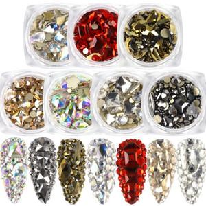1box Cristal Nail Art Strass Mixte coeur Cube Gouttes d'eau Designs Gem diamant Pierres Flatback 3D Manucure Décoration BE1607