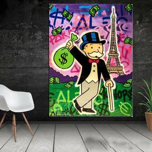 Alec Монополия холдинг $ Сумка Эйфелева башня Home Decor расписанную HD печати Картина маслом на холсте Wall Art Canvas картинки 200520