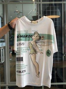 Spring Summer 2020 High-end Quality Fashion Ladies Flower Fairy Elf Illustration Series Short Sleeve T-shirt S-L