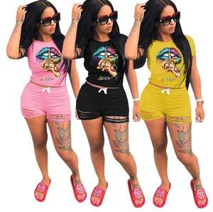 Женщины дизайнер спортивный костюм буквы губы шаблон футболка топ и рябить отверстие шорты наборы летние наряды из двух частей одежды Streewear D62908