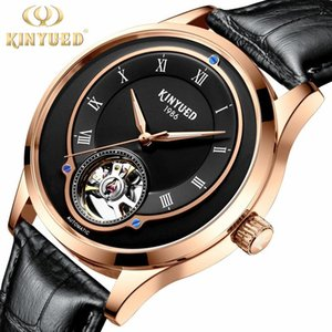 KINYUED Brand Men's New Fashion Fashion Nocturnal Luminous High-end Leather Watchband Mechanical Watch