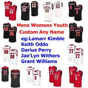 "Louisville College Basketball Jerseys Lamarr ""Fresh"" Kimble Jersey Keith Oddo Darius Perry Jae'Lyn Withers Grant Williams personalizado costurado"