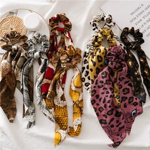 La moda del estampado leopardo de bandas Scrunchies Cabello, De lunares piel de serpiente, Cuerda de la gasa de la cinta elástica de pelo Scrunchy Cola de caballo titular de la Mujer