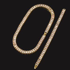 Hip Hop degli uomini Bling Bling fuori ghiacciato Catene da tennis 1 fila braccialetto collana d'oro oblungo strass Set Sontuoso uomini dei monili della catena di modo del regalo