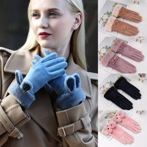 Gants chauds en plein air automne et l'hiver Femmes Gants Silver Fox Bas Five Finger écran plus Velvet Touch Gants cyclisme