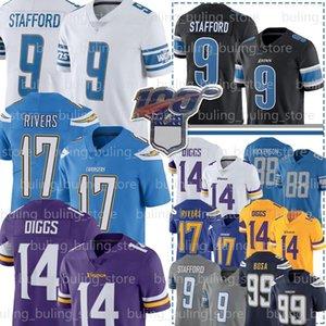 9 Matthew Stafford Jersey DetroitAslan 88 TJ Hockenson Philip Rivers 99 Joey Bosa Stefon Diggs Futbol Formalar