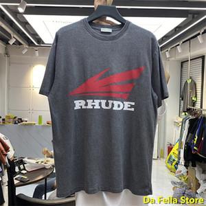 2020 Rhude T 셔츠 남성 여성 레드 윙 로고 인쇄 RHUDE T 셔츠 빈티지 중공업 품질 티 특대 스트리트 레트로 CY200513 탑