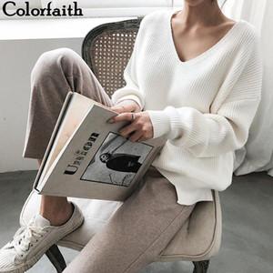 Maglioni V-Neck minimalista di New autunno inverno delle donne delle parti superiori alla moda bordo irregolare di lavoro a maglia delle donne casuali Pullover solido Maglione