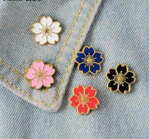 5шт / комплект Cherry Blossoms цветок брошь штыри Кнопка штыри Denim Jacket Pin Badge японский стиль ювелирных подарков для девочек