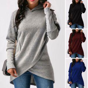 Brasão Hoodie New Mulheres manga comprida camisola Jumper Pullover Top Inverno Ladies Feminino Casual Quente Breves tops com capuz
