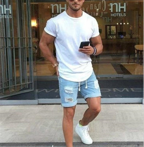 Mens Light Blue Jeans Short Fashion Distrressed Ripped Shorts Herren Designer-Jeans mit Reißverschluss
