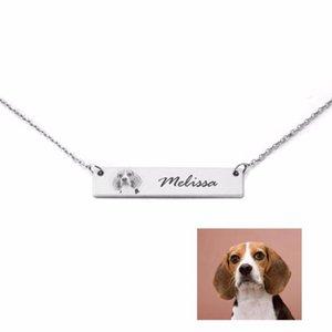 Пользовательское Ваше любимец Фото Ожерелье, персонализированное Имя Bar ожерелье, Собака Фото Ожерелье, Ожерелье Pet Jewelry собаки, Pet Lover подарки