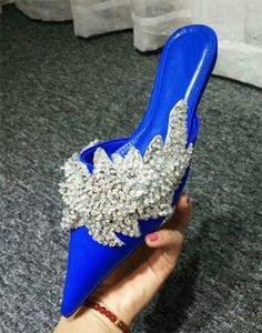 Женщины Роскошные Острым Носом Bling Bling Горный Хрусталь Плоские Тапочки Синий Черный Кристалл Плоские Тапочки Сандалии Повседневная Обувь