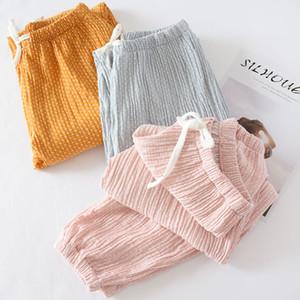 ZDFURS * Frauen Bottoms Cotton Plissee Stoff Schlaf Hosen Pink Pyjama Hosen Solid Pyjamas Hosen Womens Lounge Wear Pijama Mujer