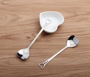 Eco-Friendly Kitchen Silver Lovers Heart Love Coffee Tea Measuring Spoon Wedding Lover Favors Stainless Steel Tableware 2 in1 Coffee Spoon
