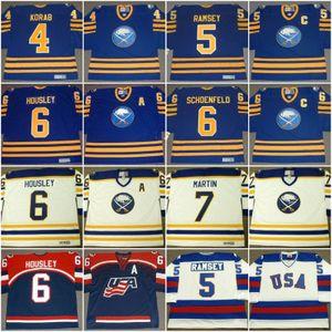 Buffalo Sabres JERRY KORAB 1978 MIKE RAMSEY 1980 EE. UU. JIM SCHOENFELD PHIL HOUSLEY 1988 RICK MARTIN 1980 Vintage Hockey Jersey