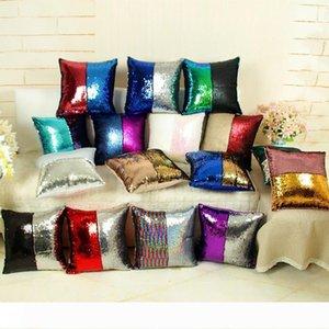 B NEW Rainbow Magic Mermaid Pillow Case Magic Sequins Cushion Cover Christmas Gifts Pillowcase Mermaid Sequin Pillow Covers for Home fr