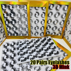 20 Pairs Boxed 25mm Mixed Styles 3D Mink False Eyelashes Natural Long Lashes Handmade Wispies Bushy Fluffy Sexy Eye Makeup Tools