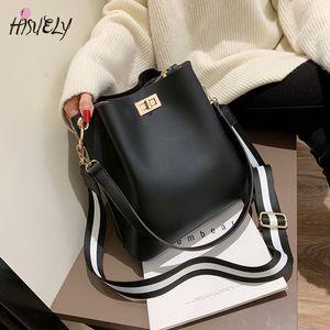 HISUELY Hot Sale New Women PU Leather Handbags Fashion Designer Black Bucket Vintage Shoulder Bags Messenger Bag High Quality MX200324