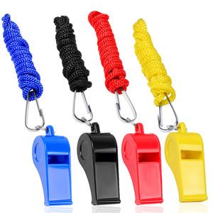 البلاستيك الصافرات مع الحبل 4 حزم للحصول على تعيين مدرب الحكم الرياضة مباراة البقاء على قيد الحياة في حالات الطوارئ 4 ألوان أسود أزرق أصفر أحمر