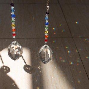 H&D 2pcs Crystal Ceiling Fan Pull Chains Decor Chakra Crystal Sun Catcher Window Ornament Gift Rainbow For Home Wedding Decor