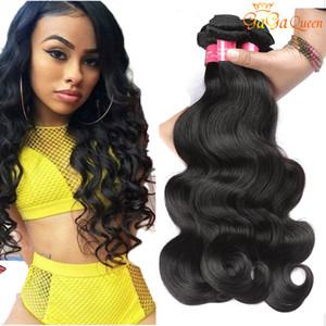 Gaga Queen Hair Brasileño Virgin Hair Body Wave Doble trama y teñido Extensiones de cabello humano 4 paquetes Color natural