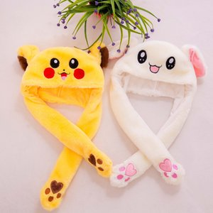 60cm Funny and Rabbit Hat with Ears Moving Plush Toy Stuffed Soft Creative Hat Doll Cute Birthday Gift FOR Kids Girl