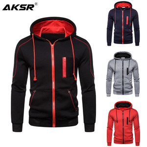 AKSR Men's Hoodie Sweatershirt Jacket Casual Coat Solid Color Zipper Large Size Men's Loose M-3XL Outdoor Sports Sweatshirt Men