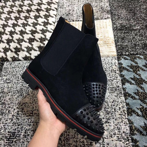 Famous Designer Melon Men's Ankle Boots Black Suede Leather Rubber Lug Sole Red Bottom Boots Winter Booties Perfect Party Wedding