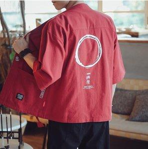 Verão Cotton Vintage Linen Kimono Jacket Para Homens Plus Size Brasão 5XL Fina Sunscreen Cardigan Kimono meia luva Casacos