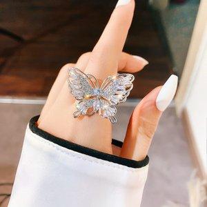 FYUAN Luxury Zircon Crystal Rings for Women Open Adjustable Beautiful Butterfly Rings Weddings Party Jewelry Gifts