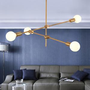 Nordic forjado araña de hierro posmoderna de bronce de oro galvanoplastia línea geométrica suspensión lámpara de techo de comedor dormitorio