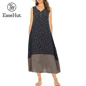 Easehut Plus Size 5xl Mulheres Do Vintage Floral Impresso Vestido V Neck Sem Mangas Botões Maxi Vestido Solto Casual Vestido de Verão Vestido Mujer Y19051102