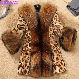 Boutique Donna Autunno Inverno Giacche in pelliccia sintetica Cappotti leopardati Collo in pelliccia sintetica Procione Giacche taglie forti OKXGNZ 1256