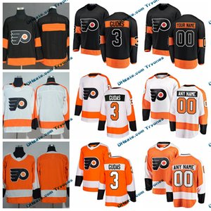 2019 Radko Gudas Philadelphia Flyers مخيط الفانيلة تخصيص الرئيسية الجديدة قميص أسود بديل # 3 Radko Gudas الهوكي الفانيلة S-XXXL