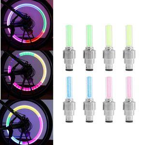 2PCS أضواء الدراجة دراجة الاطارات الاطارات صمام قبعات عجلة المتحدث الصمام الخفيفة 4 اللون