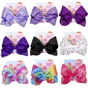 Ins Baby 8 Inch JoJo Bow Cute Bowknot Hairpin With Diamond Dot Girl Large Bowknot Barrette Colorful Bow Floral Hair Clip Accessory Sale