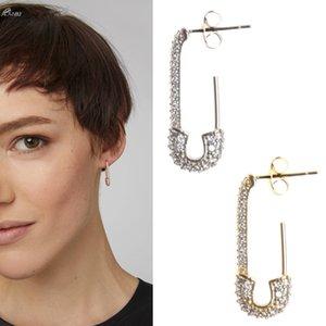 AOMU 1pc 2019 coréenne Fashion strass Boucles d'oreilles Paperclip Fashion Boucles d'oreilles en métal pour les femmes géométriques Charm de bijoux tendance