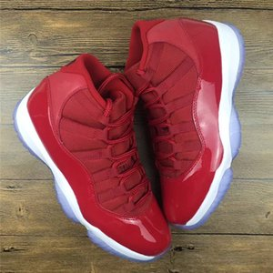 2019 Best Authentic 11 High Win Like 96 Gym Red UNC Win Like 82 Man Basketball Shoes 11S Real Catbon Fiber Sneakers 378037-623